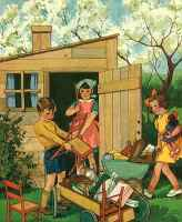 graphic children enjoying playhouse